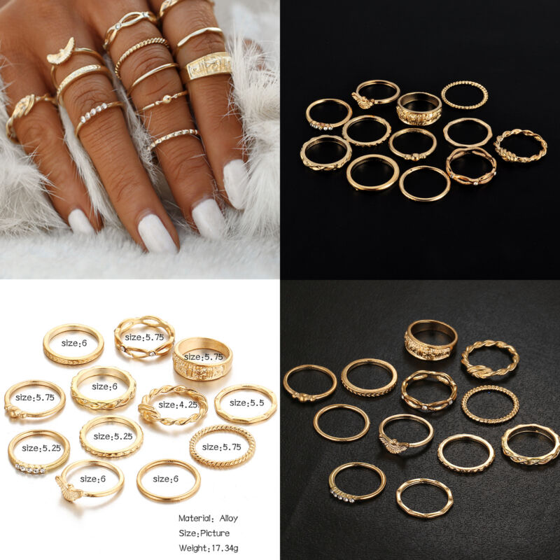 12 Pcsset Gold Midi Finger Ring Set Vintage Punk Boho Knuckle Rings Jewelry NEW