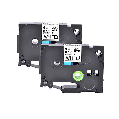 2pk Compatible With Brother P-touch Tz211 Tze211 Black On White Label Tape 6mm