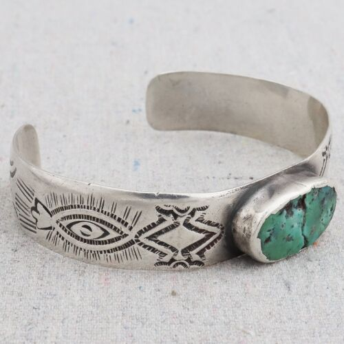 Antique Early 1900s Native American Navajo Turquoise Ingot Silver Cuff Bracelet