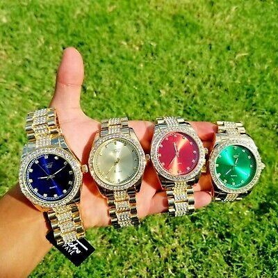 Luxury Hip Hop Iced Lab Diamond Pearl Dial Metal Wrist Bling Watch