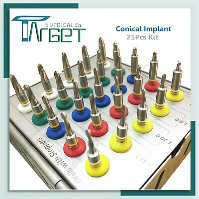 New Dental Implant Conical Drills Kit 25 Pcs With Stoppers High Quality