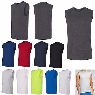 MEN'S PERFORMANCE SLEEVELESS T-SHIRT, MUSCLE, SHOOTER 50/50 BLEND S M L XL 2X 3X Cotton Performance Muscle Shirt