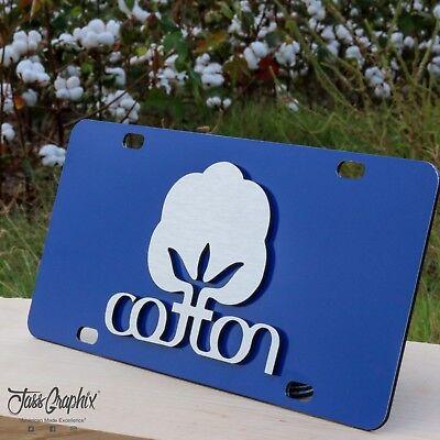 2D Blue Cotton License Plate Heavy Duty Brushed Aluminum Cotton Car Tag Heavy Brush Cotton