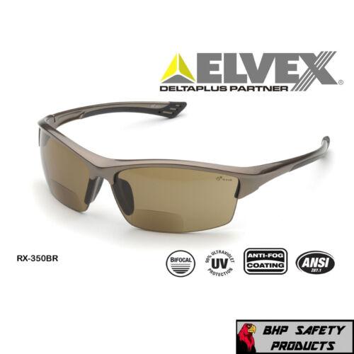 ELVEX SONOMA RX-350BR BIFOCAL SAFETY SUNGLASSES BROWN ANTI-FOG LENS (+1.0-+3.0)