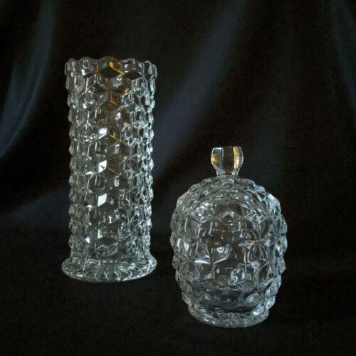 Fostoria American Straw Jar Set: Straight Vase, Barrel Sugar. Lid fits both.