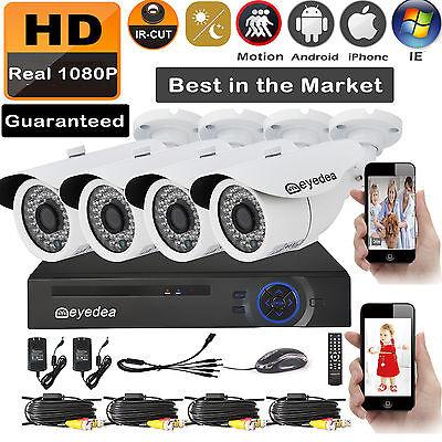 Eyedea 1080P DVR 5500TVL Phone View Night Vision AHD CCTV Security Camera System