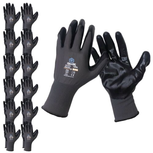 GlovBE 12 Pairs Mechanic Work Gloves, Nitrile Coated Oil & Gas Resistant