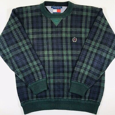 Vintage 90s Tommy Hilfiger Sweater Crest Green Blue Tartan Plaid Sz Medium