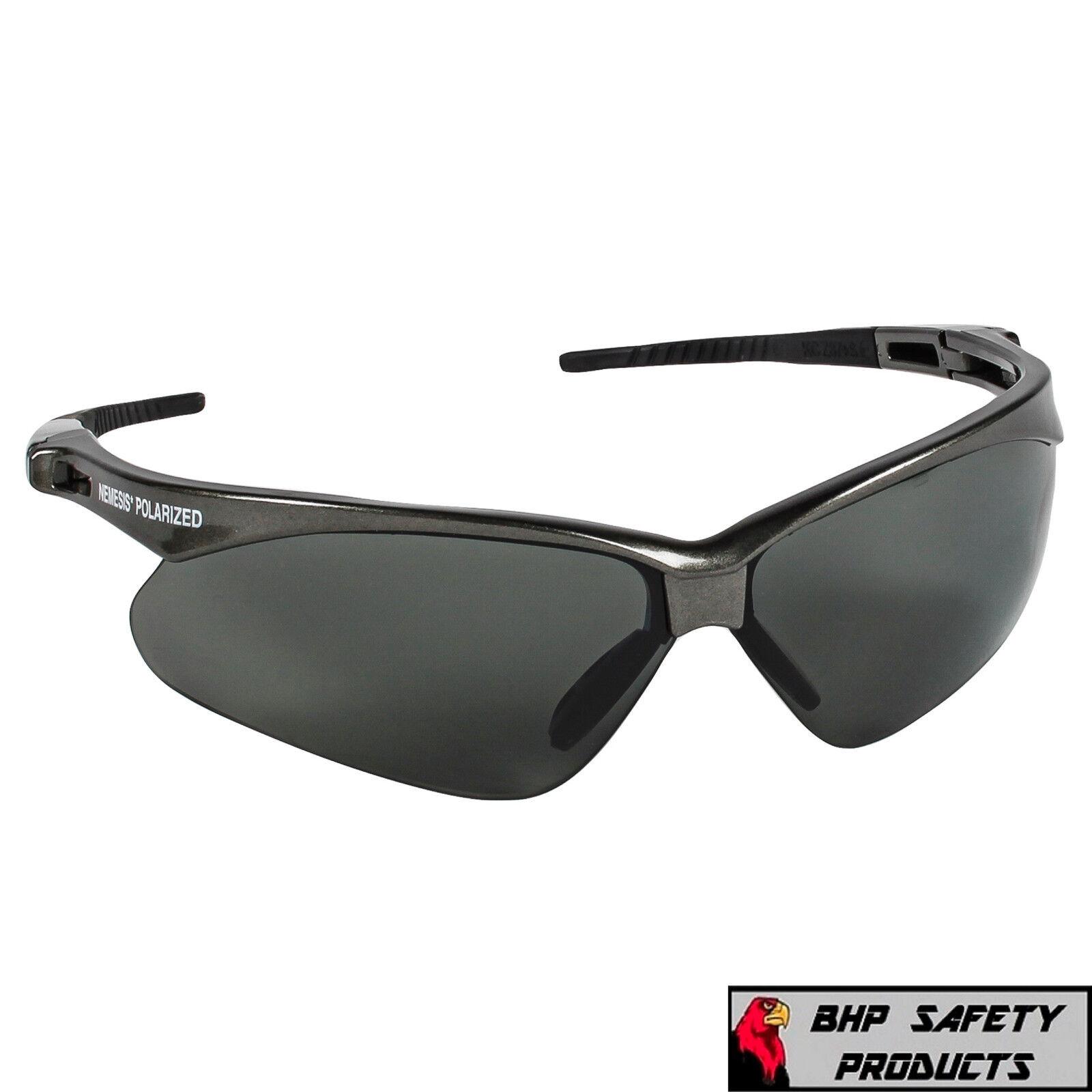 JACKSON NEMESIS SAFETY GLASSES SUNGLASSES SPORT WORK EYEWEAR ANSI Z87 COMPLIANT 28635- Gray Frame/Polarized Smoke Lens