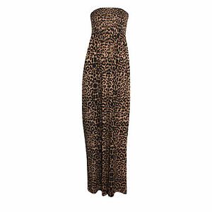 New-Ladies-Womens-Animal-Leopard-Sheering-Bandeau-Maxi-Dress-Plus-Sizes-8-26