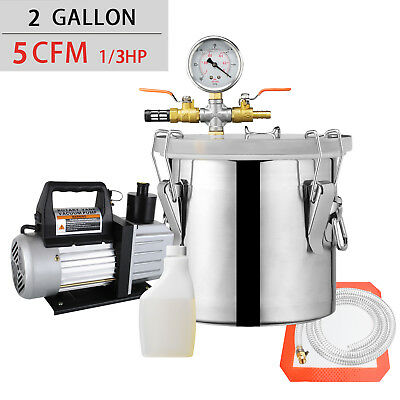 2 Gallon Vacuum Chamber And 5 Cfm Single Stage Pump Degassing Silicone Kit
