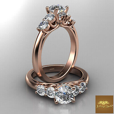 5 Stone Trellis Setting Round Diamond Engagement Prong Ring GIA F Color SI1 1Ct  8