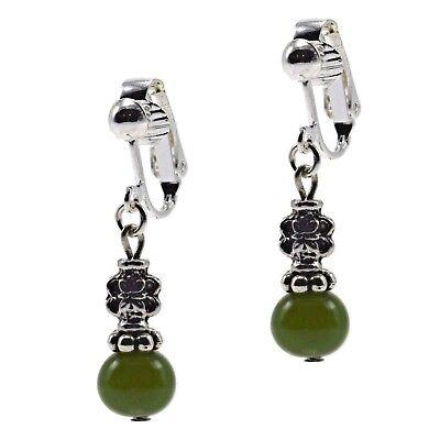 Clip On Dangle Drop Beaded Jade Silver Antique Fashion Earrings Grace Of NewYork