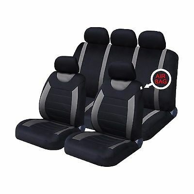 UNIVERSAL CAR SEAT COVERS Full Set Sporty Grey/Black Washable Airbag Compatible