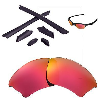 New WL Polarized Fire Red Lenses And Black Rubber Kit For Oakley Half Jacket (Black And Red Oakleys)