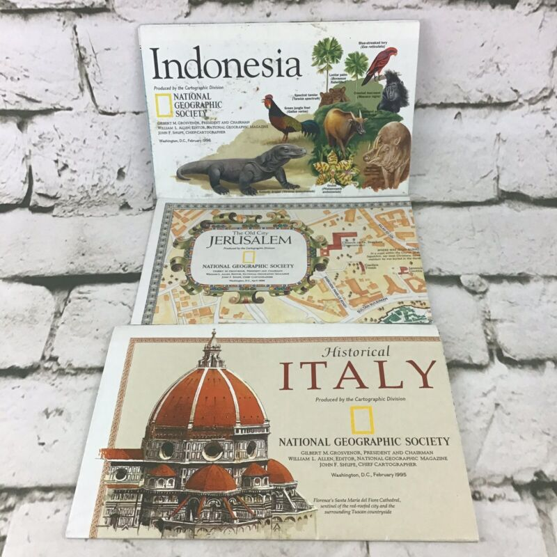 Vintage National Geographic Society Maps  Lot Of 3 Italy Jerusalem Indonesia