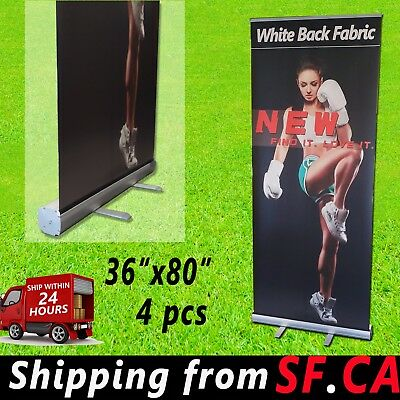 4 Pcs36x 80 Retractable Banner Standroll Up Trade Show Pop Up Display Stand
