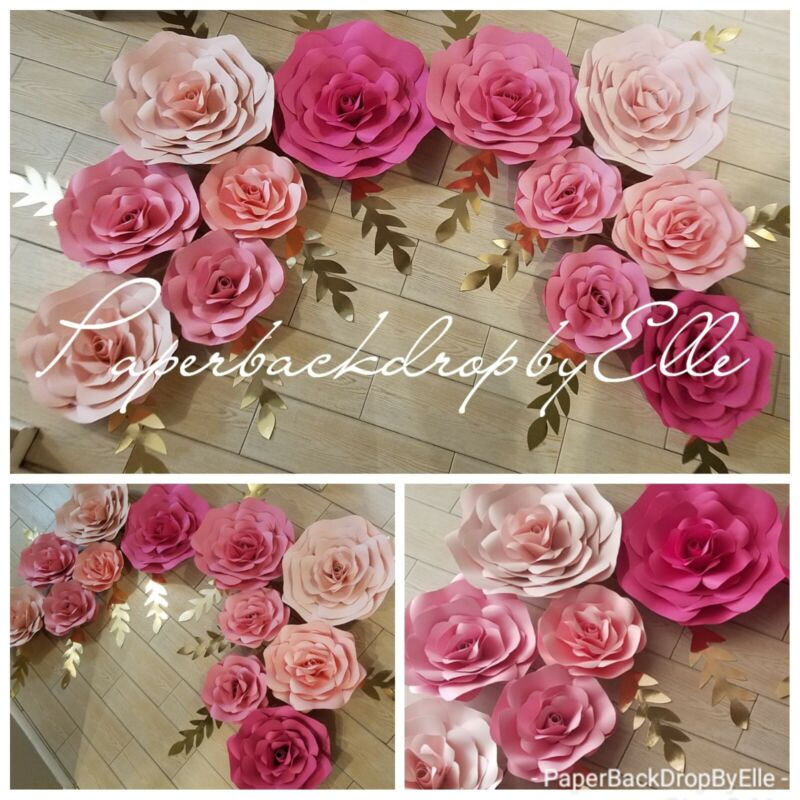 7 LARGE Paper flowers ♡♡wall decor