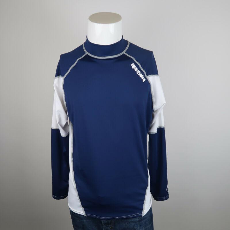 ScubaMax Mens 2XL Rash Guard Shirt Blue White Mock Neck Long Sleeve Anti-UV
