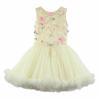 Pale Yellow Flower Girl Dresses (Popatu Girl's Sleeveless Flower Dress, size 4T/4, Buttercream (Pale)