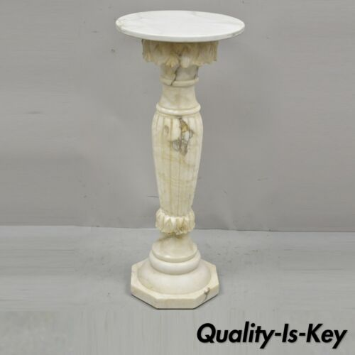 Antique Victorian Style Marble & Alabaster Carved Column Pedestal with Round Top