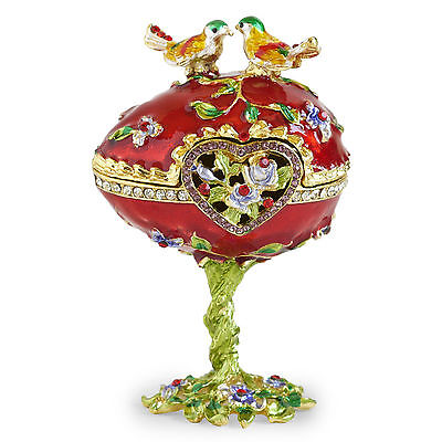 Rare Vintage LookHand Painted LoveBird Faberge Egg Rhinestone Jewerly Trinket Bx