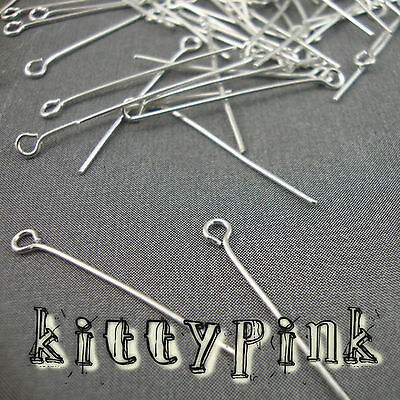100 Silver Plated Eyepins 30 x 0.7mm Eye Pins Findings