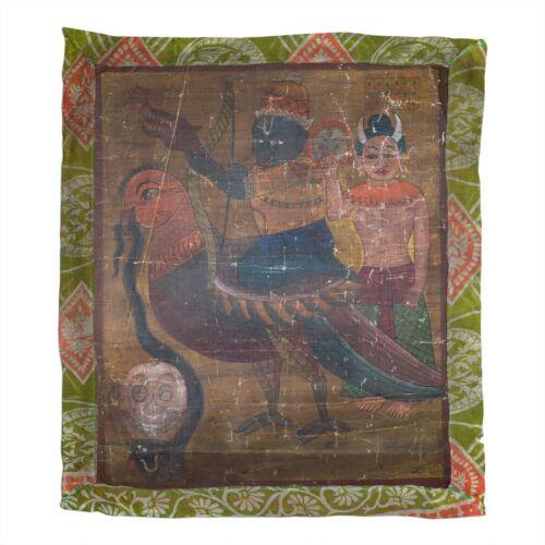 "Antique Tantric Folk Painting of Hindu God of Love Kamadeva. 52×46 cm or 20x18"""
