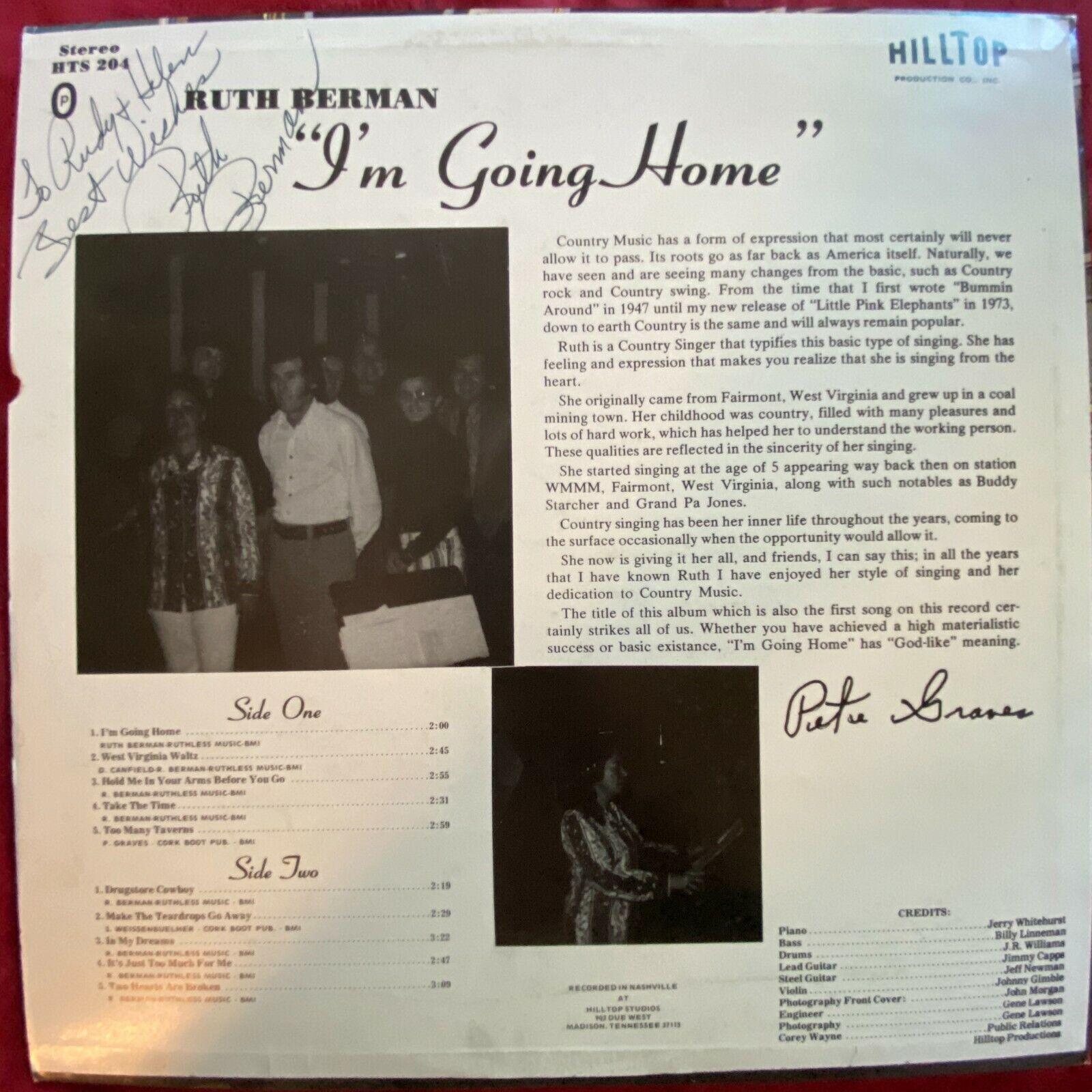 Ruth Berman I m Going Home Hilltop Records Stereo LP Country Folk SIGNED VG  - $17.56