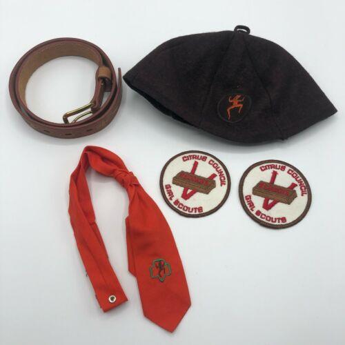 Vintage Girl Scouts Brownies Hat Belt Tie Patch Lot Citrus Council Lot
