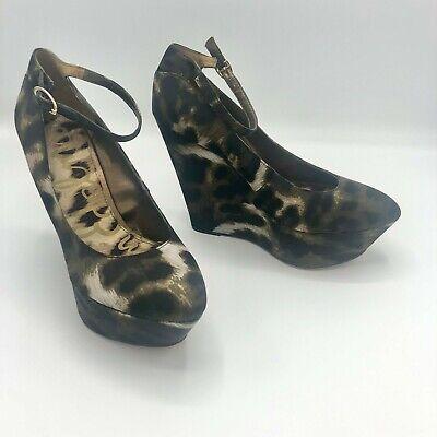 Sam Edelman Womens Shoes Size 9.5 Quinn Platform Heel Satin Animal - Animal Print Platform Shoes