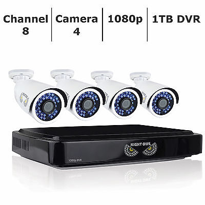 New Gloom Owl 8-Channel 4-Camera 1080p Smart Security System with 1TB HDD DVR
