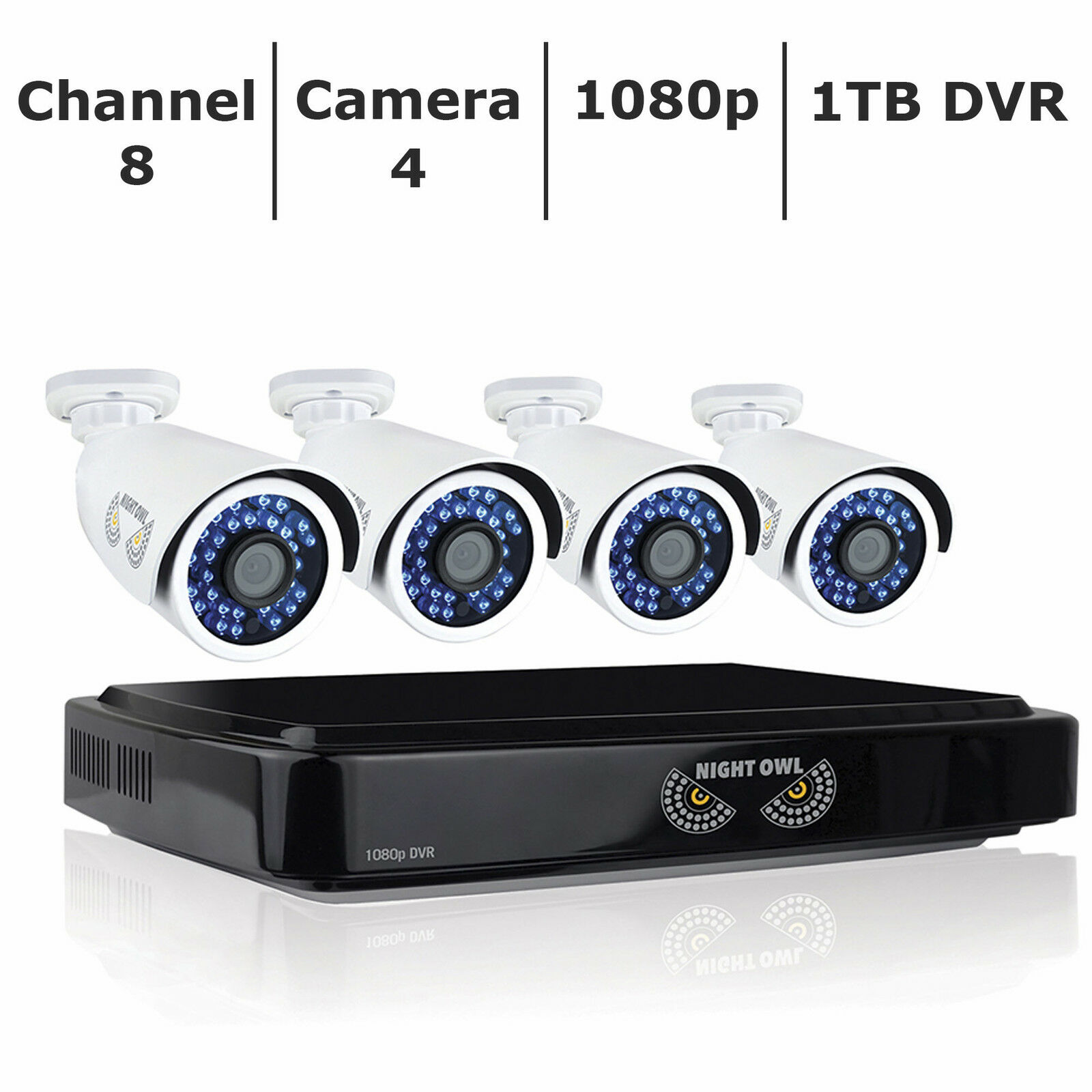 New Night Owl 8-Channel 4-Camera 1080p Smart Security System with 1TB HDD DVR