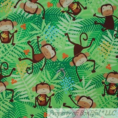 BonEful FABRIC FQ Cotton Quilt Green Palm Leaf Brown Monkey Baby Boy Animal -