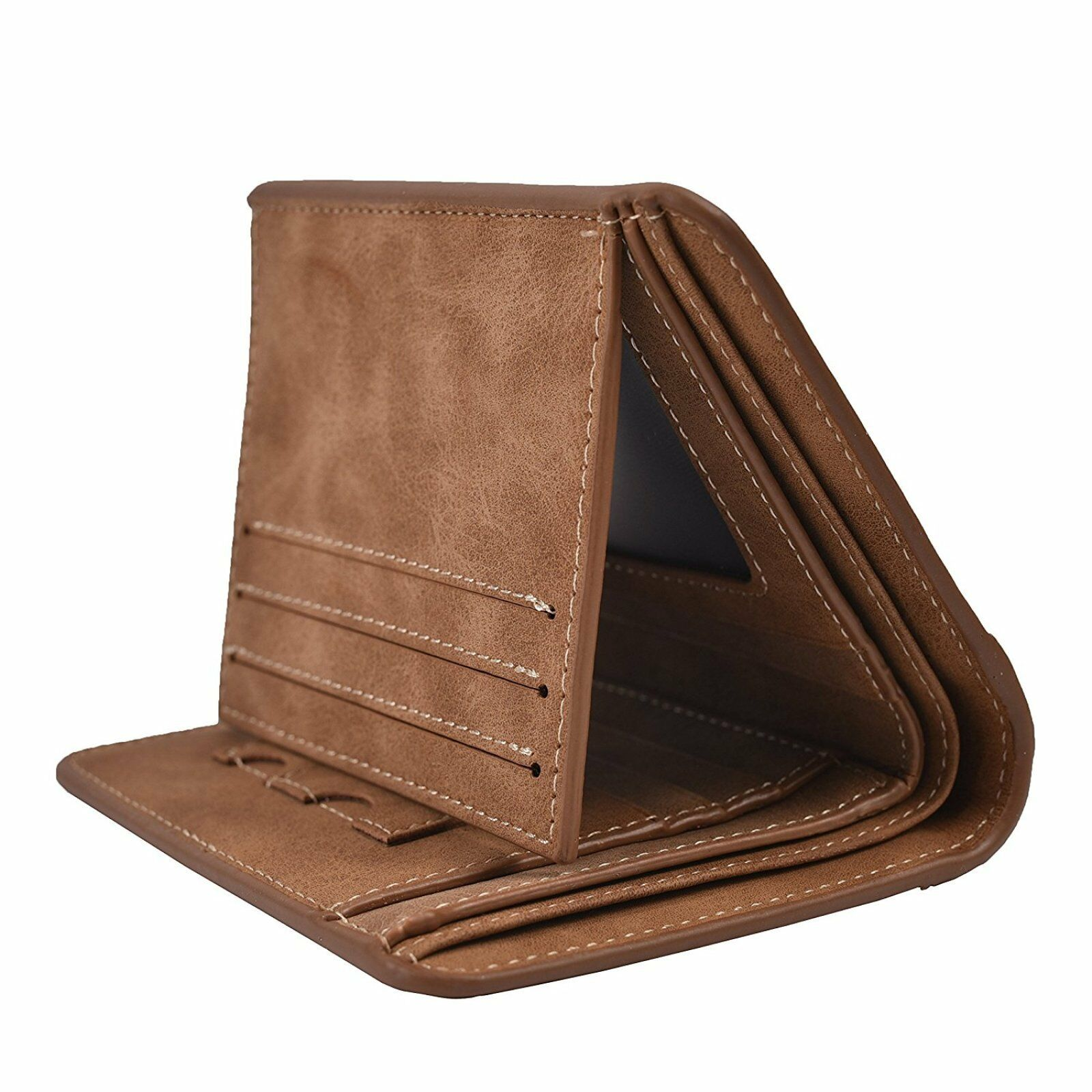 RFID Blockling Mens Genuine Cowhide Leather Credit//ID Card Holder Trifold Wallet