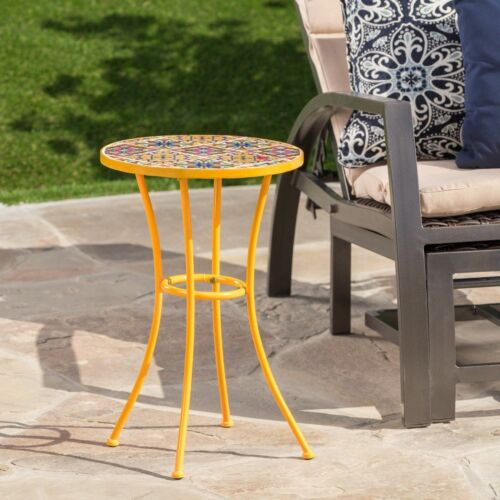 Brienne Outdoor Yellow Ceramic Tile Side Table with Iron Frame Home & Garden