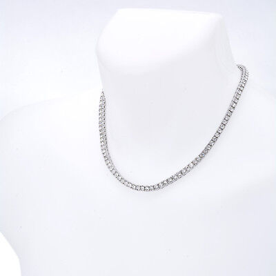 """Men's Fashion Iced Out 4 mm 18"""" Round Stone Silver Plated Tennis Chain Necklace"""
