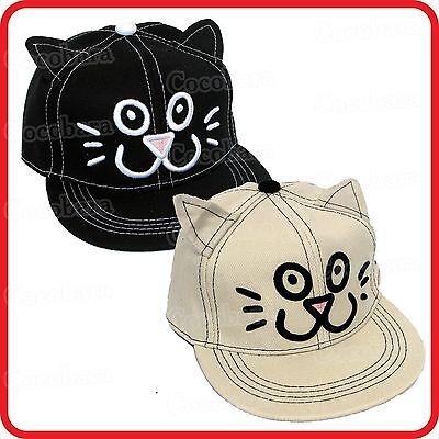 KIDS CHILDRENS BOYS GIRLS CUTE CAT KITTEN MEOW BASEBALL CAP HAT-DRESS-UP-COSTUME (Dress Up Cute Boys)