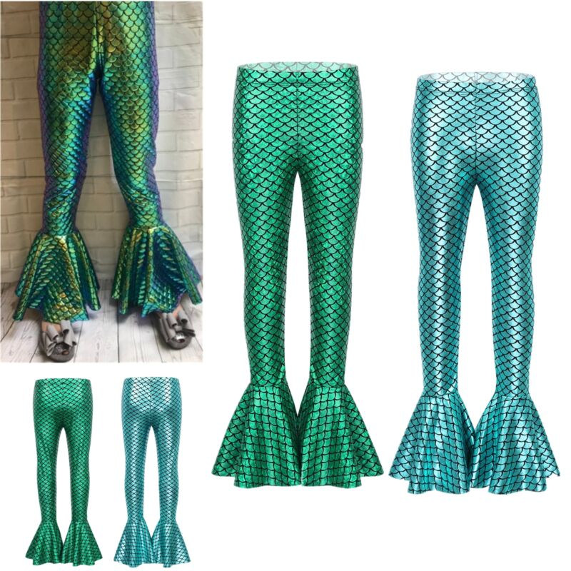 moily Girls Mermaid Princes Costume Shiny Tail Leggings Pants Flared Bell Bottoms Halloween Outfit