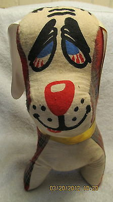 Vintage Stuffed Dog by Genie Toys Floppy Ears Hound Plaid Coat 12 Inches Tall