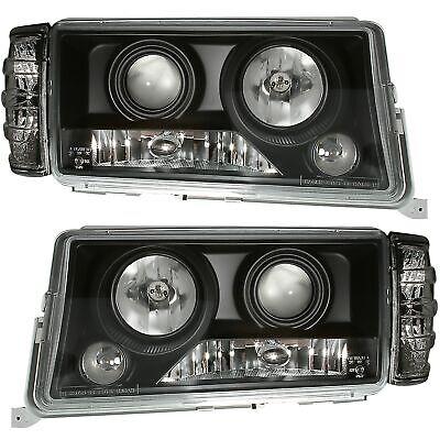 Scheinwerfer Set in Klarglas Schwarz für Mercedes W201 190 1/83-5/93