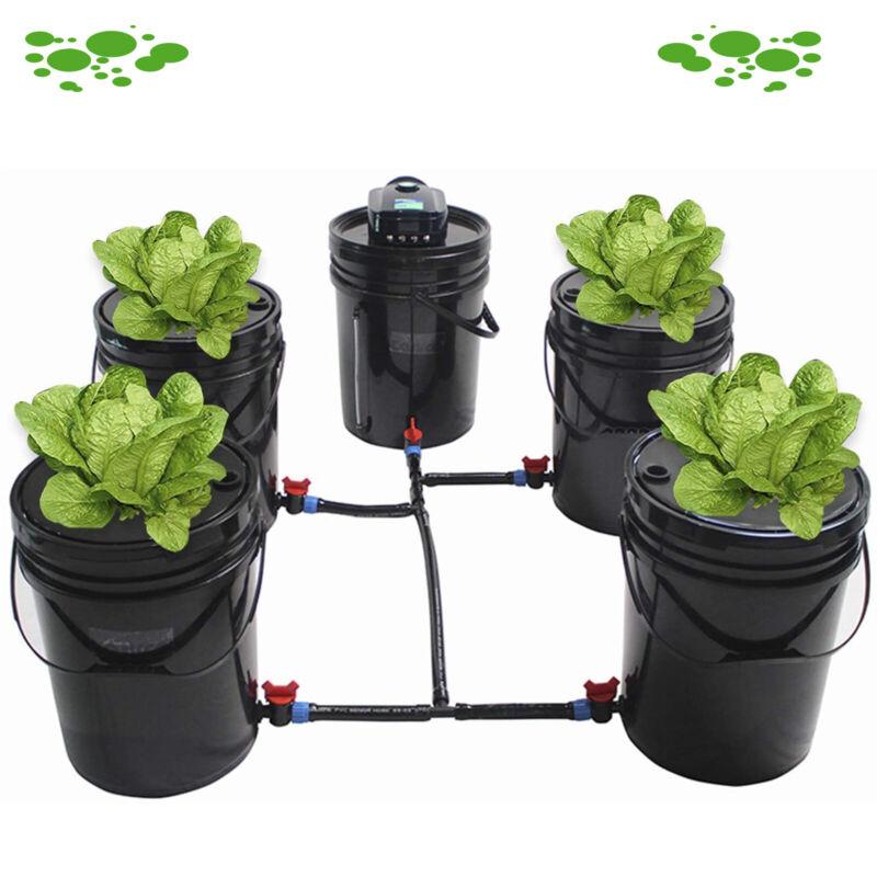 4 Pack 5.28 Gallon Hydroponic Deep Water Culture DWC Hydroponic Bucket Grow kits