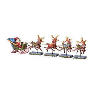 Jim Shore*5 PC SET SANTA SLEIGH w/ REINDEER*New*NIB*Christmas*DASH AWAY*4055048