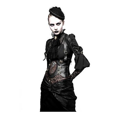 Western Costumes For Women (Women's Steampunk Western Dragon Girdle Corset Gothic Goth Costume Faux Leather)