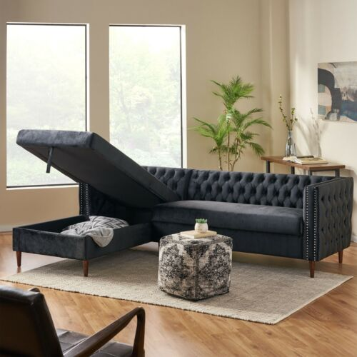 Jephthah Contemporary Tufted Velvet Sectional Sofa with Storage Chaise Lounge Furniture