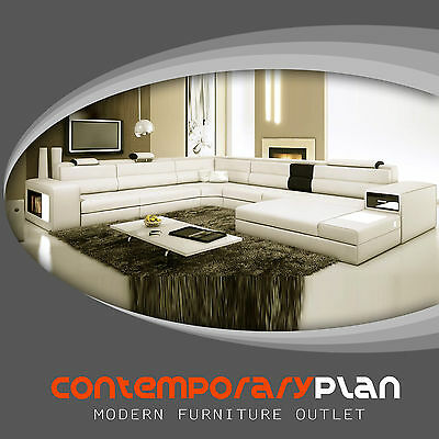Polaris Ivory Italian Leather Sectional Sofa - Modern Design U Shape Comfortable