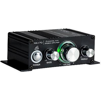 Kinter MA-170 2-Channel Mini Amplifier Bass Treble RCA In 2x