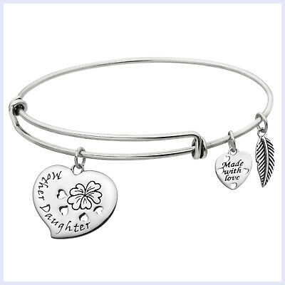 Sterling Silver Mother Daughter Love Heart Dangle Charm Adjustable Wire Bangle