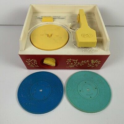 Vintage Fisher Price Record Player Music Box 995 Red with 2 Records Works 1971