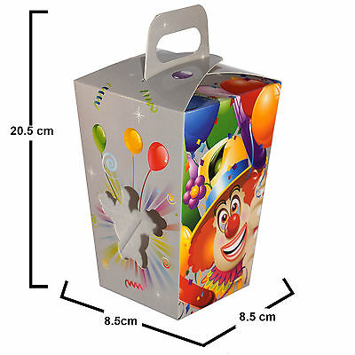 5x Tall Grey Purim Clown Gift Box with Window and handle for MISHLOACH MANOT